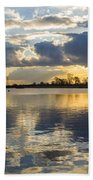 Sunset Over The Water Beach Towel
