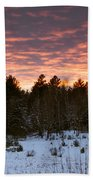 Sunset Over The Winter Forest Beach Towel