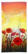 Sunset Poppies Beach Towel