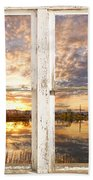 Sunset Reflections Golden Ponds 2 White Farm House Rustic Window Beach Towel