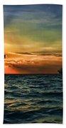 Sunset Regatta  Beach Towel