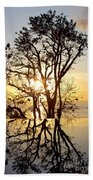 Sunset Silhouette And Reflections Beach Towel