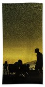 Sunset Silhouette Of People At The Beach Beach Towel