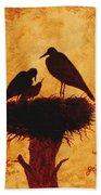 Sunset Stork Family Silhouettes Beach Towel