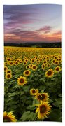 Sunset Sunflowers Beach Towel by Debra and Dave Vanderlaan