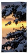 Sunset Through The Snowy Branches Beach Towel