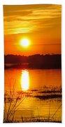 Sunset Walk In The Water Beach Towel