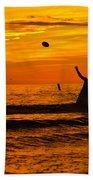 Sunset Water Football Beach Towel