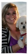 Sunset With Young American Woman And Poodle Beach Towel