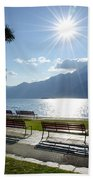 Sunshine Over A Lake Front Beach Towel