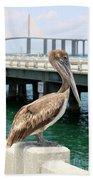 Sunshine Skyway And Pelican Beach Towel by Carol Groenen