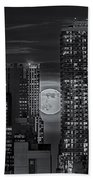 Super Moon Rises Over The Big Apple Bw Beach Towel by Susan Candelario