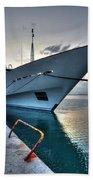 Super Yacht At Nafplion  Beach Towel