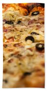 Supreme Meat Works Pizza  Sliced And Ready To Eat Beach Towel