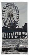 Surfer And Lovers At Pleasure Pier Beach Towel
