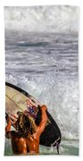Surfer Catch The Wave Beach Towel