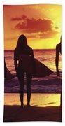 Surfer Girl Silhouettes Beach Sheet