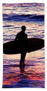 Surfer Silhouette Beach Towel