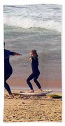 Surfing Lesson Beach Towel