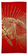 Surgeonfish Skeleton In Gold On Red  Beach Towel