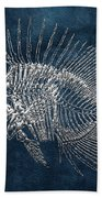 Surgeonfish Skeleton In Silver On Blue  Beach Towel