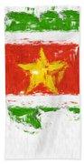 Suriname Painted Flag Map Beach Towel