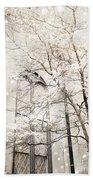 Surreal Dreamy Winter White Church Trees Beach Sheet