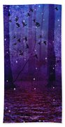Surreal Fantasy Starry Night Purple Woodlands - Purple Blue Fantasy Nature Fairy Lights  Beach Towel
