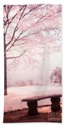 Surreal Infrared Dreamy Pink And White Park Bench Tree Nature Landscape Beach Towel