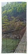 Suspension Bridge Over The Seti River In Nepal Beach Towel