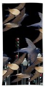 Swallows In The City Beach Towel