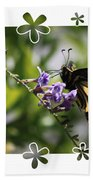 Swallowtail 4 With Flower Framing Beach Towel