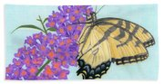 Swallowtail Butterfly And Butterfly Bush Beach Sheet