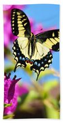 Swallowtail In Flight Beach Towel