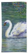 Swan And One Baby Beach Towel
