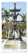 Swan Fountain In Lakeland Beach Towel