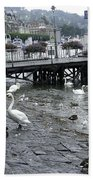 Swans And Ducks In Lake Lucerne In Switzerland Beach Towel