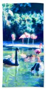 Swans And Flamingos Beach Towel