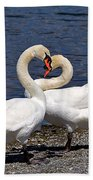 Swans Courting Beach Towel