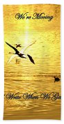 Swans Flying Over The Water Beach Towel