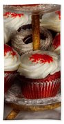 Sweet - Cupcake - Red Velvet Cupcakes  Beach Towel by Mike Savad