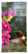 Sweet Pea Hummingbird Iv With Verse Beach Towel by Debbie Portwood