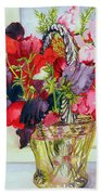 Sweet Peas In A Vase Beach Towel