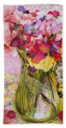 Sweet Peas With Cherries And Strawberries Beach Towel by Joan Thewsey