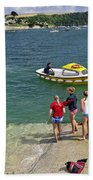 Swimmers On The Slipway - St Mawes Beach Towel