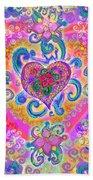 Swirley Heart Variant 1 Beach Sheet