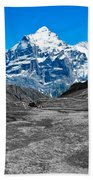Swiss Alps - Schreckhorn And Valley In Black And White Beach Towel