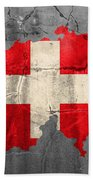 Switzerland Flag Country Outline Painted On Old Cracked Cement Beach Towel