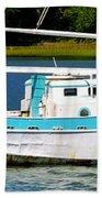 Swordfish Boat Pano Beach Towel