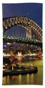 Sydney Harbour Bridge By Night Beach Towel by Kaye Menner